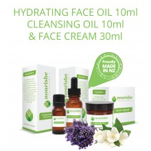 Sampler or Travel Pack - Nourishe Skincare Hydrating Face Oil 10 ml, Face Cream 30 ml, Cleansing Oil 10 ml